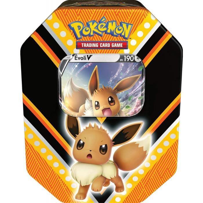 Pokebox Evoli V - 190 PV - Carte Francaise A Collectionner Pokemon - Boite Metal Orange Et Noir Puissances-V