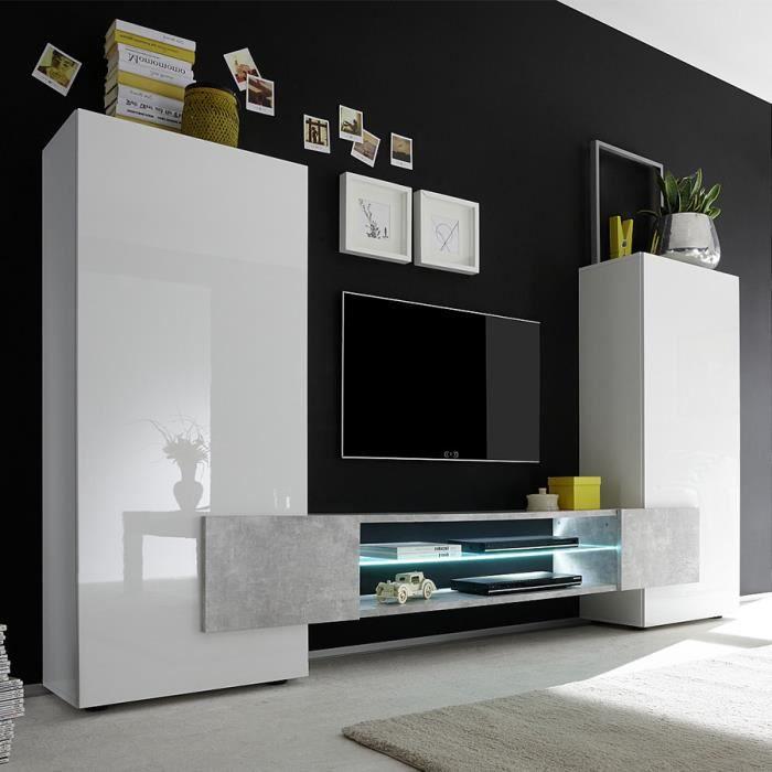 Ensemble meubles TV blanc laqué brillant et béton EROS Sans L 258 x P 37 x H 143 cm Blanc