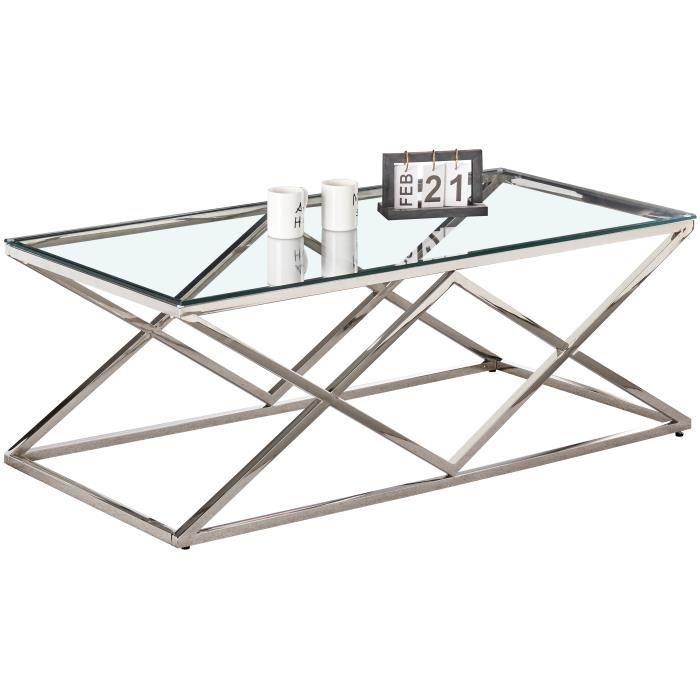 Table basse design en acier inoxydable poli argenté et plateau en verre trempé transparent L. 120 x P. 60 x H. 45 cm collection