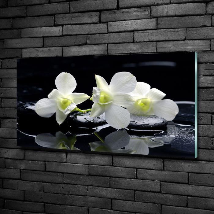 Tulup 100x50cm Tableau sur verre de sécurité:- Fleurs plantes - Orchidée - Blanc Rouge