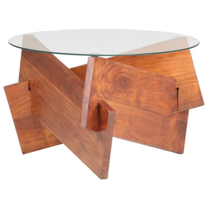 Home-5374Table basse décor design vintage scandinave - Table de salon Bout de canapé Table de thé Table de séjour 60 cm Bois solide