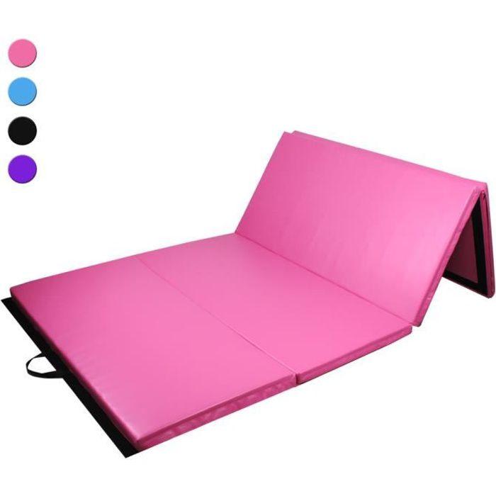 Tapis de Sol 300cm pour Gymnastique et Fitness, Matelas de Gym Épais et Pliable pour la Maison - Rose