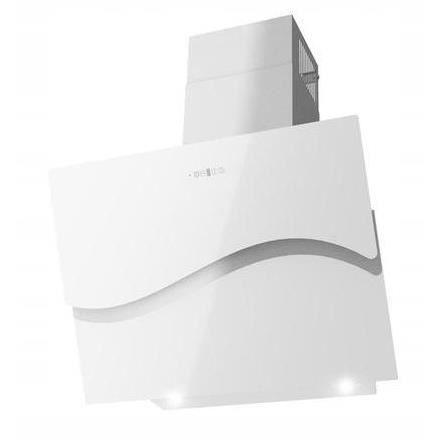 MURCIA - Hotte aspirante moderne cuisine 60 cm - Extraction/Recyclage - Panneau tactile Verre + INOX - LED télécommande - Blanc
