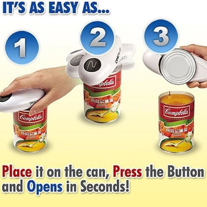 Ustensile de cuisine,1 pièces un ouvre boîte automatique Abs ouvre boîte électrique en verre en conserve couteau de mise en