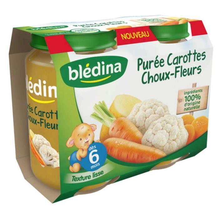 BLEDINA Petits pots Purée carottes choux-fleurs - 2x200 g - Dès 6 mois