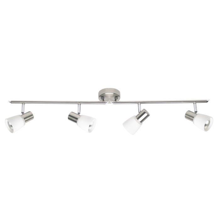 BRILLIANT Plafonnier barre à 4 lumières Luca hauteur 15 cm E14 40W chrome et blanc