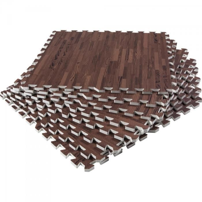 Gorilla Sports - Tapis de protection interconnectables de 1,2cm en mousse - EVA 8 carré de 60x60cm - BOIS FONCÉ