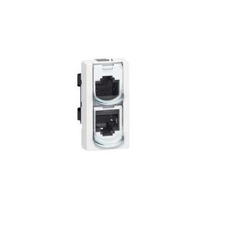 Prise doubleur Ethernet-Ethernet RJ 45 - UTP - 8 contacts - 1 module - LCS²