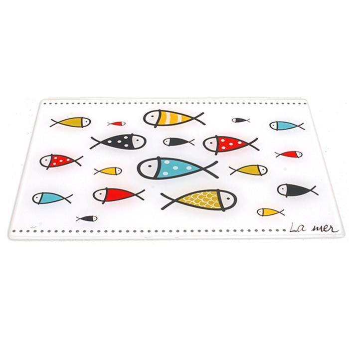Planche à découpe verre 'Poissons - La mer' multicolore blanc - 40x30 cm [A0238]