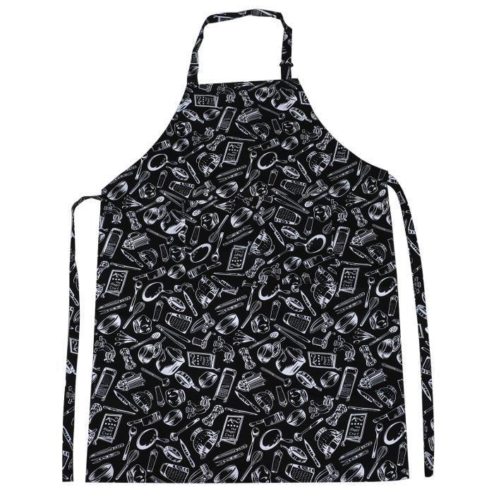 TRIXES Tablier Noir de Cuisine Ajustable Long Design Original