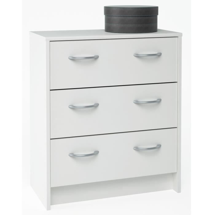 Primo meuble commode blanche 3 tiroirs blanc achat for Meuble commode tiroirs