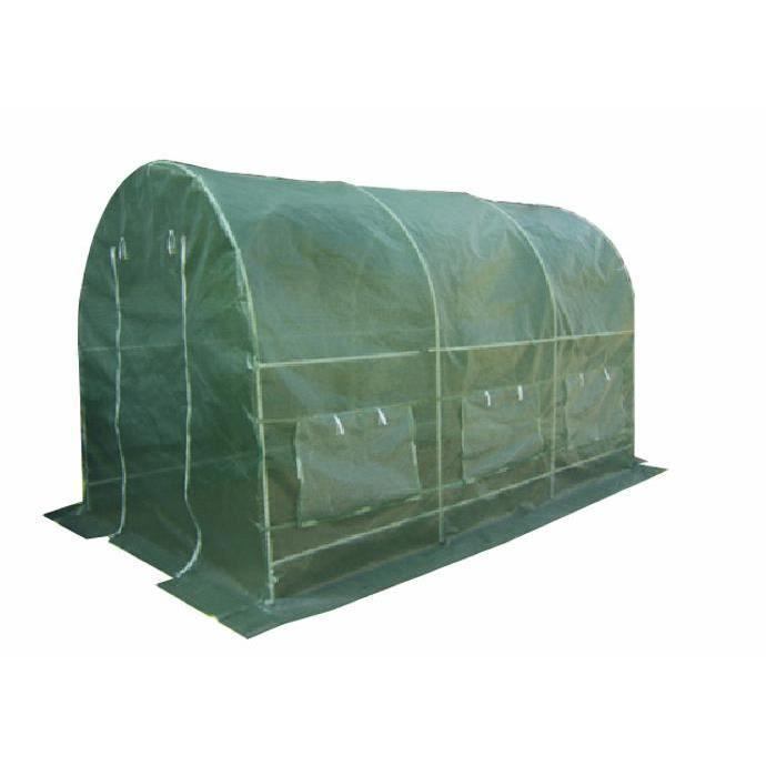 Serre de jardin verte transparent 2 m x 4,5 m