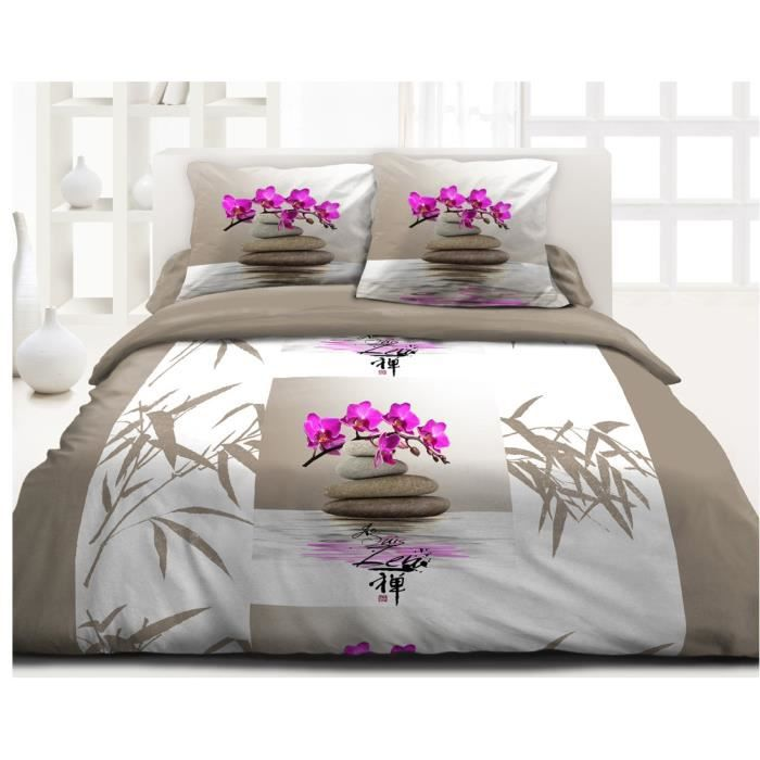 housse de couette zen flower taille 220 x 240 cm microfibre achat vente housse de couette. Black Bedroom Furniture Sets. Home Design Ideas