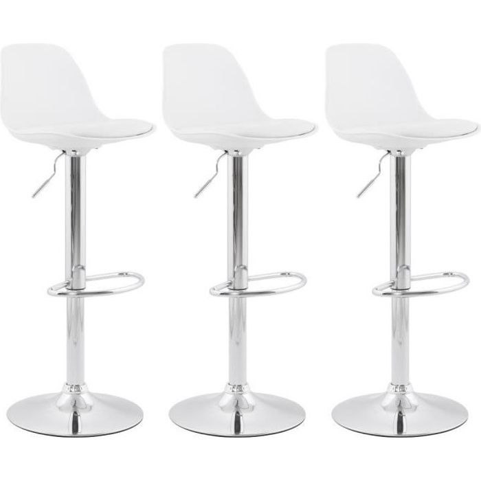 ho lot de 3 tabouret de bar blanc avec dossier achat vente tabouret de bar blanc cdiscount. Black Bedroom Furniture Sets. Home Design Ideas