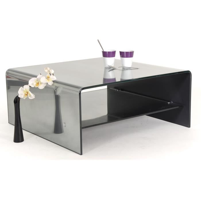 table basse carr e verre effet miroir tremp cr achat vente table basse table basse. Black Bedroom Furniture Sets. Home Design Ideas