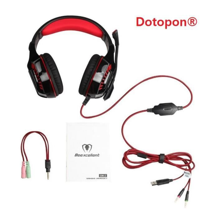 Dotopon®(red)wired Gm-2 Gaming Headset Avec Microphone Led Light Surround Stéréo Pour Ordinateur Gamer Smartphones