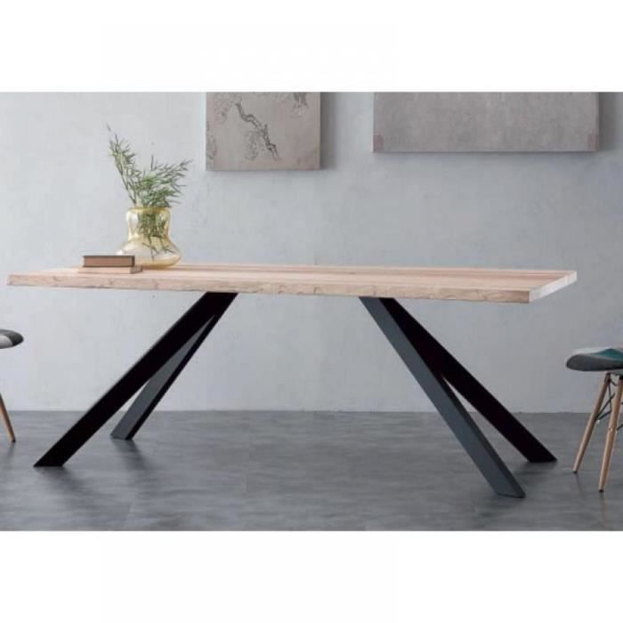 table repas bio metal en bois massif pi tement achat. Black Bedroom Furniture Sets. Home Design Ideas