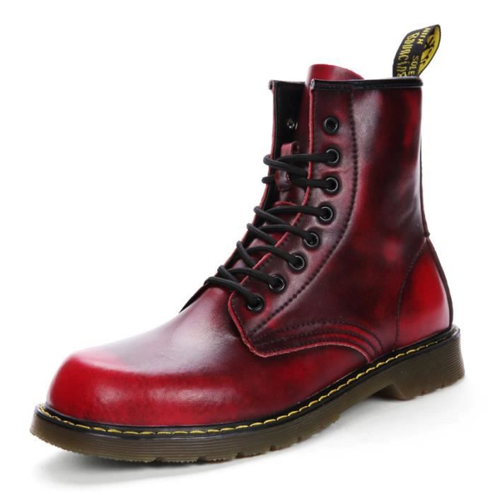 Martin Hommes Cuir Chaussures Bottes Homme Boots Rouge Rouge Rouge