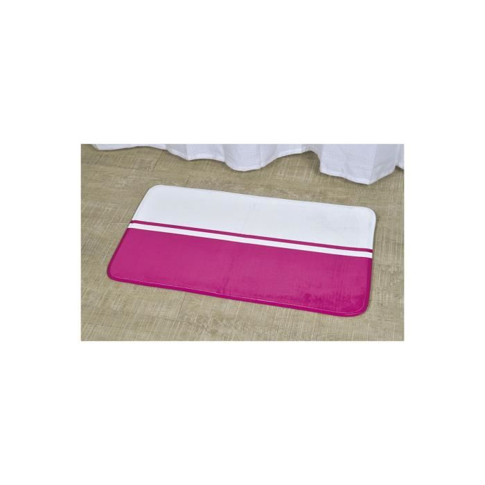 tapis de salle de bain bicolore blanc et fushia achat. Black Bedroom Furniture Sets. Home Design Ideas