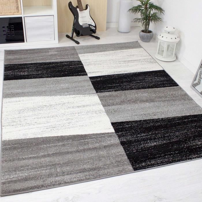 tapis design pour le salon modern gris blanc et noir 160x220 cm achat vente tapis cdiscount. Black Bedroom Furniture Sets. Home Design Ideas