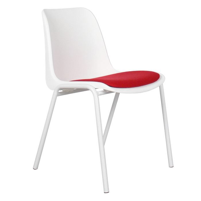 CHAISE Chaise Design Blanche Assise Rouge Back To Gym Re
