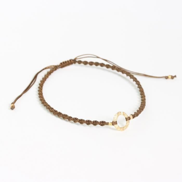 Womens Adjustable Friendship Bracelet Cotton String In Twist Design And Gold Plated On Brass RingHL1UP