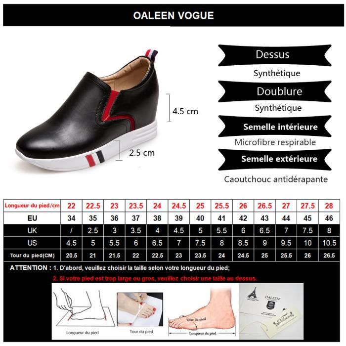 Oaleen Baskets mode compensées femme aspect cuir chaussures sport voyage plateforme rouge 43