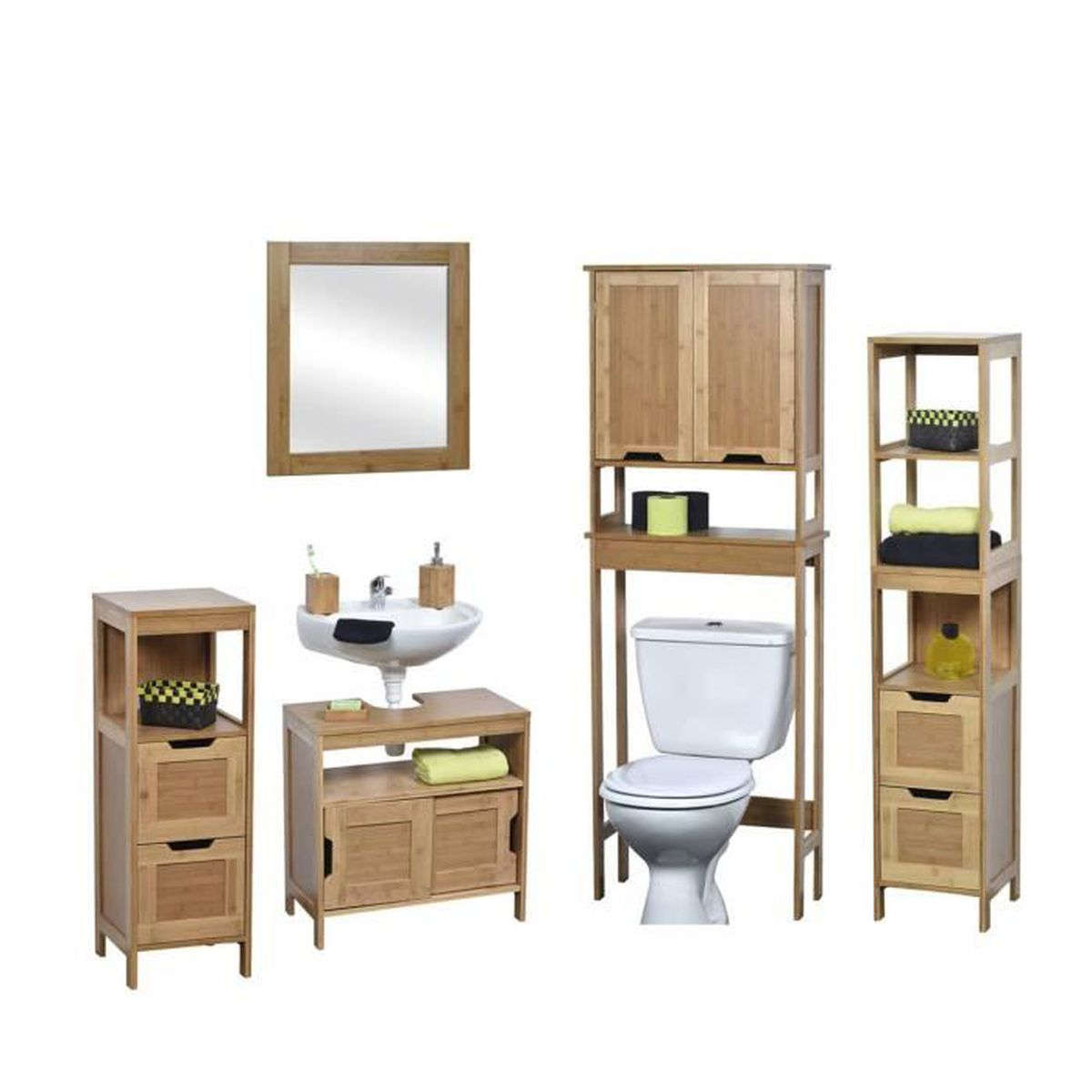 salle de bain compl te en bambou naturel achat vente. Black Bedroom Furniture Sets. Home Design Ideas