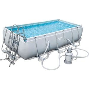 BESTWAY Kit Piscine tubulaire rectangulaire Power Steel Frame Pool avec filtre ? cartouche - 4,04x2,01x1m