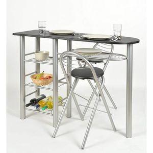 CUISINE COMPLÈTE Ensemble table + 2 chaises style bar Alu + décor n