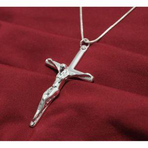 SAUTOIR ET COLLIER Collier Pendentif croix Jésus argent 925 + Chaine