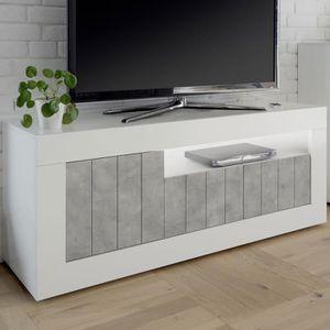 MEUBLE TV Meuble TV blanc effet béton gris moderne URBAN 5 G