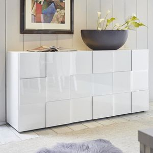 BUFFET - BAHUT  Buffet design blanc laqué brillant ARTIC L 181 x P