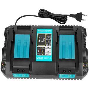 Chargeur de rechange DC18RD Dual Port 4A pour batterie Li-Ion Makita 18V BL1850 BL1850B BL1840 BL1840B BL1830 14.4V BL1415 BL1430 BL1440 BL1450