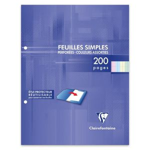 FEUILLET MOBILE CLAIREFONTAINE - Feuilles simples couleurs - 4 cou