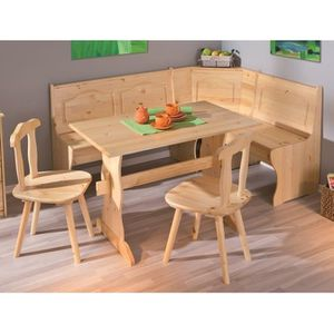 Banc Pin Massif Vernis Blanc Table Chaises Inter Link Coin