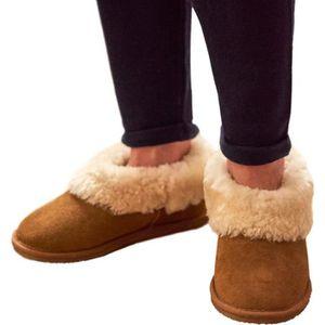 Femme femmes cuir naturel peau de mouton chaussons mocassins taille 3-8