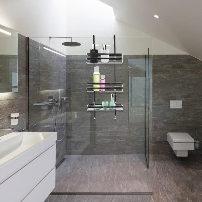 Etagère salle de bains Etagère de douche à suspendre avec Panier de douche 3 couches de Installation facile