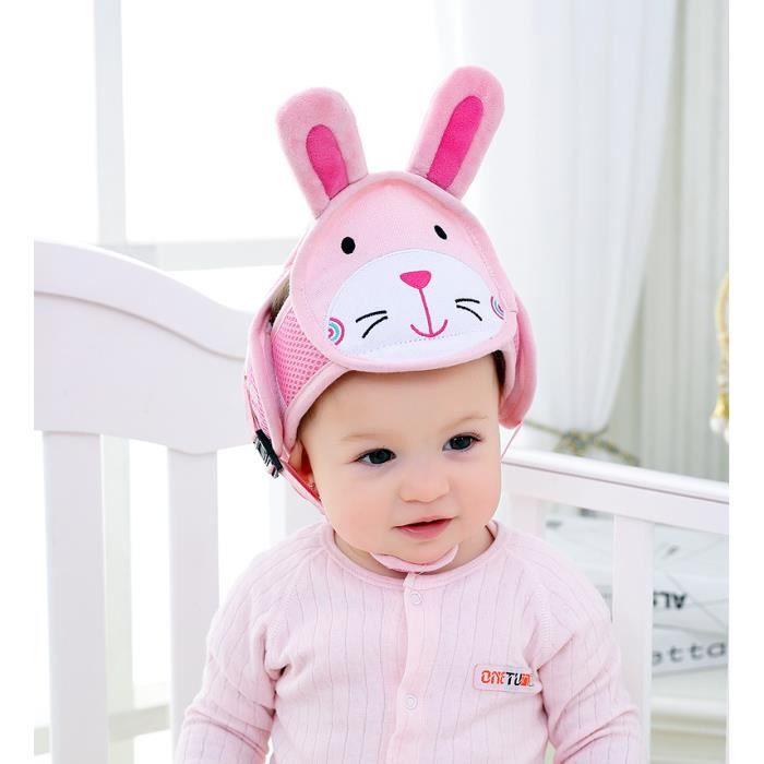 Casque Sécurité Bébé Casque de Protection Bébé Domestique en Coton Douce Réglable Antichoc- (taille 42-62cm) - Lapin