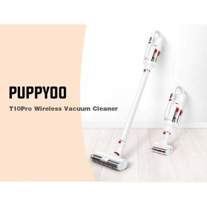 Puppyoo T10 Pro Aspirateur Balai Sans Fil 250W 17,8 Kpa 2500Mah 78Db Brosse À Acariens Aspirateur À Main Aspirateur Robot -