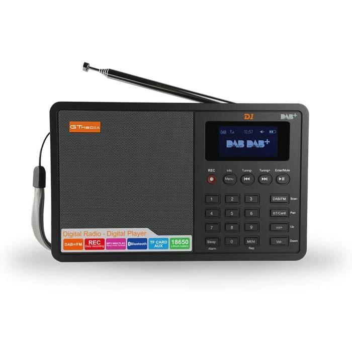 D1 Portable LCD Dab + / FM RDS Radio, Lecteur Radio numérique sans Fil Rechargeable avec réveil et Fonction d'enregistrement de Prog