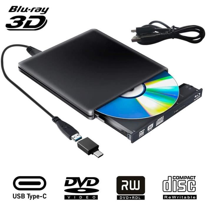 Lecteur Graveur Blu Ray Externe DVD CD 3D, USB 3.0 Portable Lecteur Blu-Ray Slim BD CD DVD-ROM ROM pour PC Mac Windows 7 8 10 XP Lin