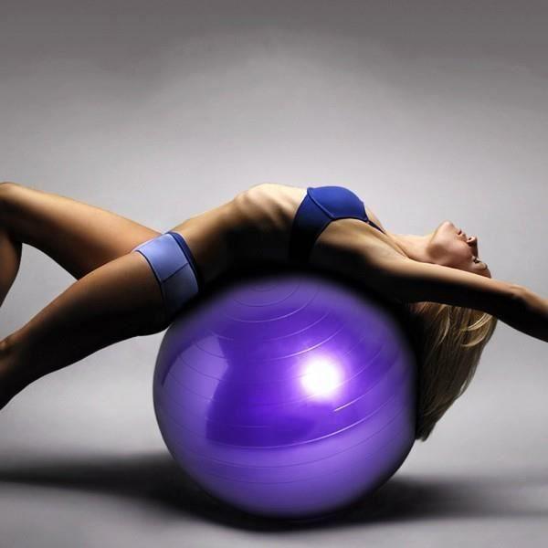 ISE Ballon de gymnastique Anti-éclatement - Ballon d exercice 55cm de Diamètre avec Pompe Violet SY-2003PP65-FR