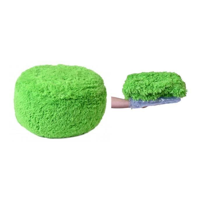 SITZY - Pouf gonflable intérieur/extérieur h 34cm ⌀ 65cm confortable pratique - Assise gonflable + housse amovible fourrure - Vert