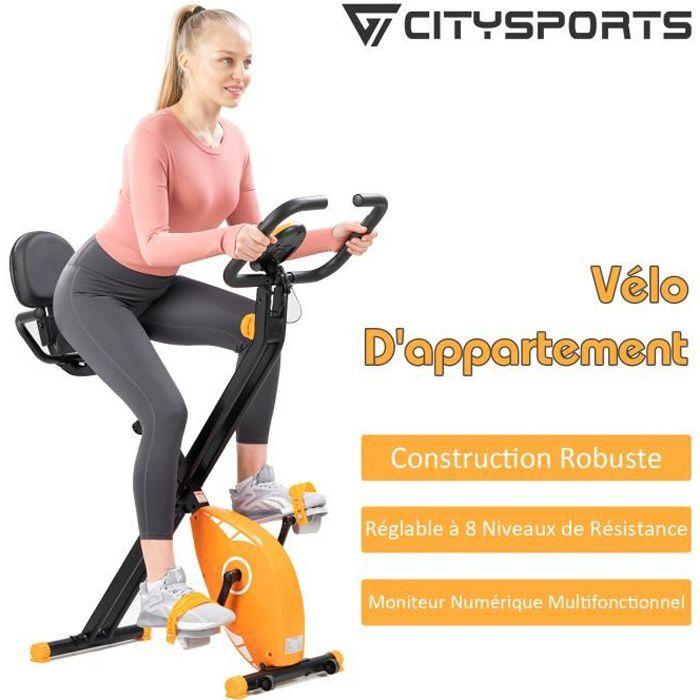CITYSPORTS Vélo d'appartement pliable, vélo d'exercice avec écran LCD, vélo d'appartement fitness, niveaux de résistance réglable