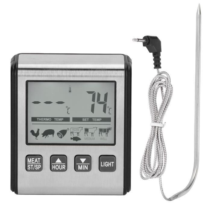 Thermomètre numérique pour barbecue, thermomètre à viande numérique, thermomètre de cuisson avec grand écran rétroéclairé