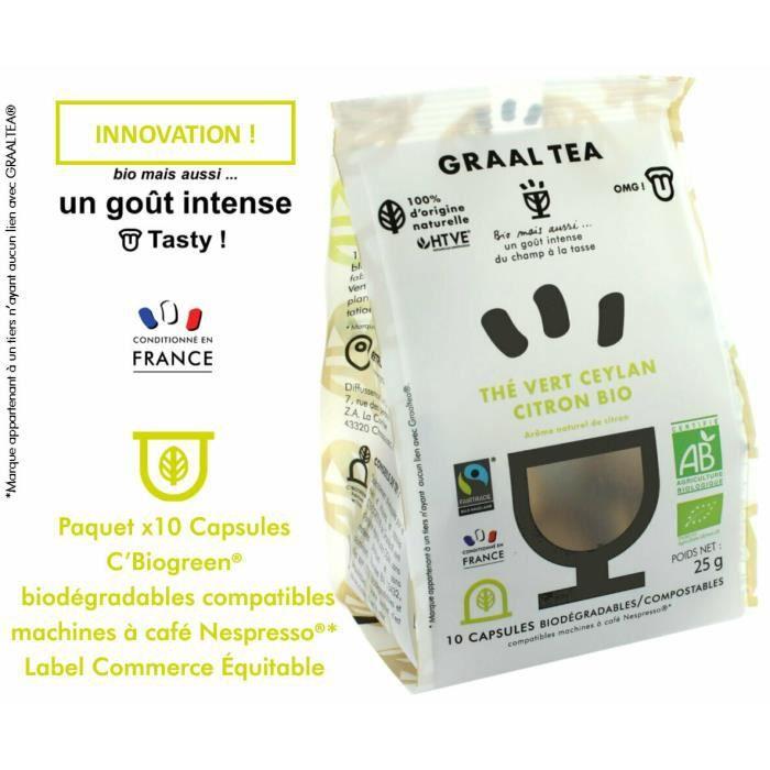 GRAALTEA THÉ VERT CEYLAN CITRON Bio & Équitable en capsule biodégradable compostable compatible machine Nespresso* - Arôme naturel