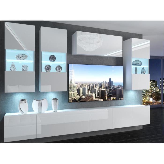 RAMONE - Ensemble meubles TV avec LED - Unité murale - Largeur 300 cm - Mur TV finition gloss - Blanc