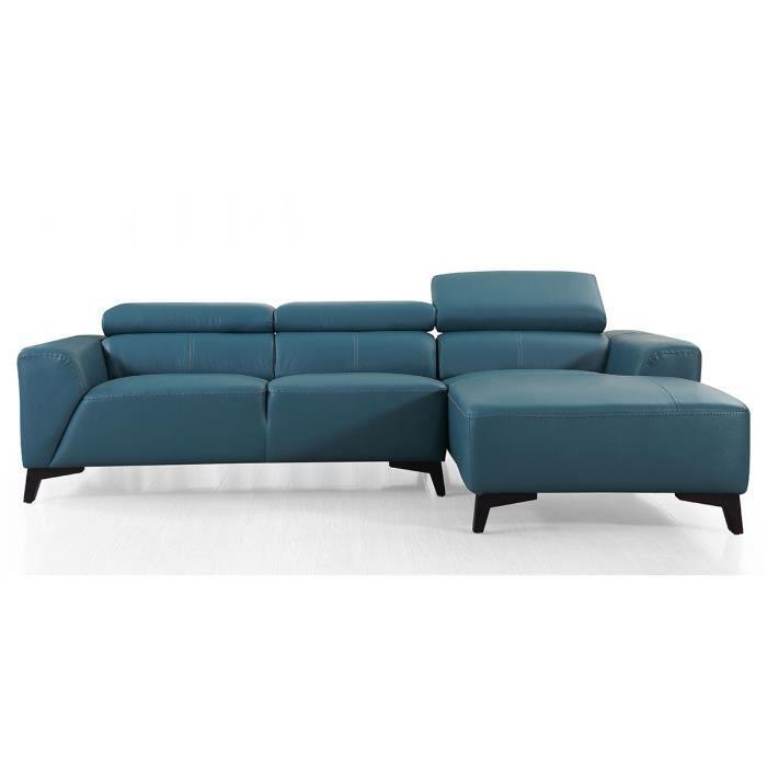 Canapé d'angle droit en cuir BLOUM - Vert - Droit - Vert