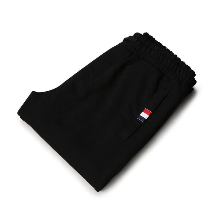 Pantalon de jogging Homme grande taille en mince Droit Pantalon Homme Mode Casual - Noir